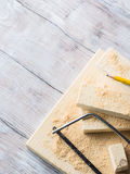 Drewno i narzędzia dla mierzyć tnącego poziom DIY wykonujemy ręcznie Obraz Royalty Free