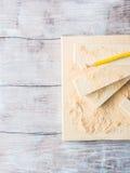 Drewno i narzędzia dla mierzyć tnącego poziom DIY wykonujemy ręcznie Zdjęcie Royalty Free