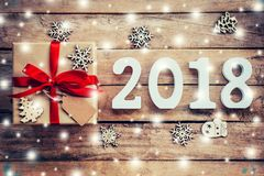 Drewno liczy tworzyć numerowy 2018, Dla nowego roku 2018 na r Fotografia Royalty Free