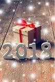 Drewno liczy tworzyć numerowy 2018, Dla nowego roku 2018 na r Obraz Royalty Free