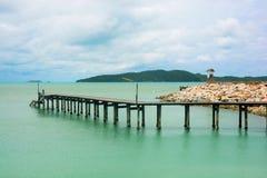 Drewno most nad morzem Zdjęcia Royalty Free