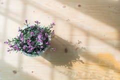 Drewno stół z kopii przestrzenią i sztuczna menchii róża kwitniemy Obrazy Royalty Free