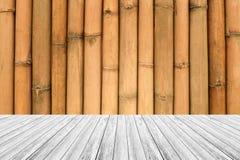 Drewno taras i bambus ścienna tekstura fotografia royalty free