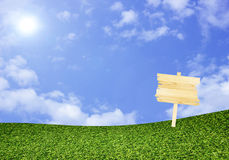 Drewno znak na zieleni polu pod niebieskim niebem Obrazy Stock