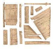 Drewno znaka deski kolekcja odizolowywająca na bielu Zdjęcia Royalty Free