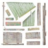Drewno znaka deski kolekcja odizolowywająca na bielu Fotografia Stock