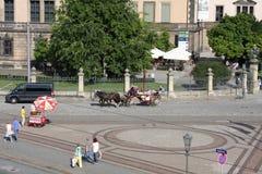 Drezdeński, Niemcy: Aug 25 2016 - Sławna Zwinger pałac Dera Dresdner Zwinger galeria sztuki Drezdeński, Saxrony, Niemcy Zdjęcie Royalty Free