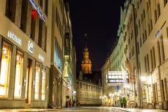 23 01 2018 Drezdeński Niemcy, Neumarkt, - blisko Frauenkirche przy nocą w Drezdeńskim, Niemcy Fotografia Royalty Free