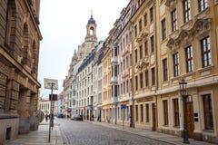 22 01 2018 Drezdeński, Niemcy - starzy piękni domy w Drezdeńskim, S Zdjęcie Stock