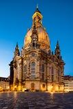 Drezdeński przy nocą, Frauenkirche zdjęcia royalty free