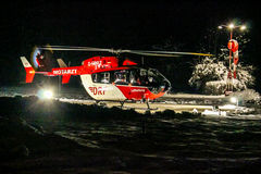 DRF rescue helicopter at night Royalty Free Stock Images
