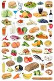 Dri φρούτων λαχανικών φρούτων υποβάθρου συλλογής τροφίμων και ποτών Στοκ εικόνα με δικαίωμα ελεύθερης χρήσης