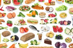 Dri de fruit de légumes fruits de nourriture et de fond de collection de boissons Images libres de droits