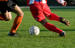 Dribble at football sport. Competition royalty free stock images