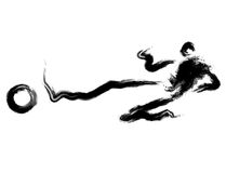 He dribbled the ball towards the goal with speed. Calligraphy Ar Stock Photo