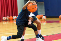 Dribbling a basketball at summer camp stock photos