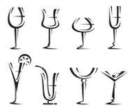 dricka exponeringsglas för samling Arkivbild