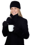 dricka för blondin som är varmt något kvinna Royaltyfri Bild