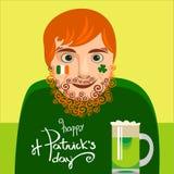 Dricka för irländare för rolig rödhårig man modernt vektor Arkivbilder