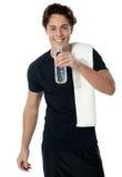 dricka fit isolerad manvattenwhite Arkivbilder