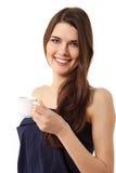 dricka flicka isolerad white för härligt kaffe Arkivfoton