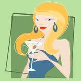 dricka flicka martini stock illustrationer