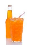 dricka glass orange sodavattensugrör för flaska Royaltyfria Bilder
