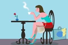 Dricka kaffe för kvinna Fotografering för Bildbyråer