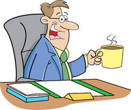 Dricka kaffe för tecknad filmman Fotografering för Bildbyråer