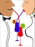 Dricka kokteyl för man och för kvinna. Vektor Arkivfoto
