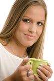 dricka kvinnabarn för coffe royaltyfria bilder