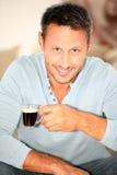 dricka man för closeupkaffe Royaltyfria Bilder