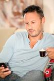 dricka man för closeupkaffe Royaltyfria Foton
