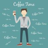 dricka man för kaffe vektor illustrationer