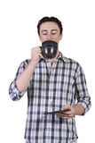 dricka man för kaffe som plattforer ung Royaltyfri Fotografi