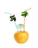 dricka saftigt rør för ny grapefrukt Royaltyfria Bilder