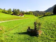 Dricka springbrunnar i Santa Maddalena, höst, i MorningSouthen Tyrol (Italien) Royaltyfria Bilder