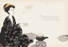 dricka teakvinna Royaltyfri Fotografi