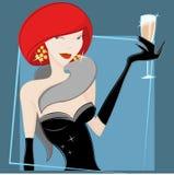 dricka vektorwinekvinna stock illustrationer