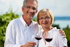 Dricka wine för lyckliga par på laken i sommar Arkivbild