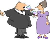 dricka wine för par vektor illustrationer