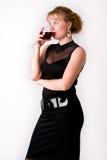 dricka winekvinna Royaltyfri Foto