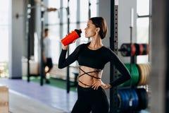Dricker den iklädda svarta sportswearen för den slanka mörker-haired flickan vatten i idrottshallen nära sportutrustningen royaltyfri fotografi