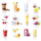 dricker symboler royaltyfri illustrationer