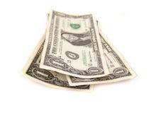 Drie één dollar rekeningen Stock Afbeelding