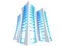 Drie 3D servertoren Stock Fotografie