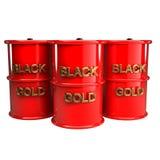 Drie 3d vaten olie Stock Afbeelding
