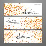 Drie abstract malplaatjeontwerp van Webbanner met het met de hand geschreven van letters voorzien van de Herfst en bladdaling stock illustratie