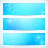 Drie abstracte medische technologiebanner Stock Foto's
