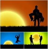 Drie achtergronden van het zonsondergangsilhouet stock illustratie